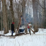 Boiling sap the old fashion way